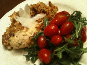 Swiss Chicken with Grape Tomato & Argula Salad