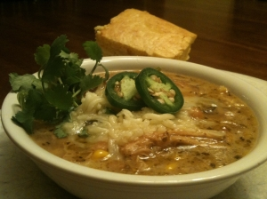 Doug's White Chicken Chili with Fresh Cilantro and Jalapeno Garnishes