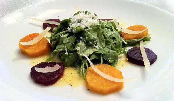 Nest of Arugula with Roasted Beets and Parmagian-Reggiano in Simple Vinegarette.