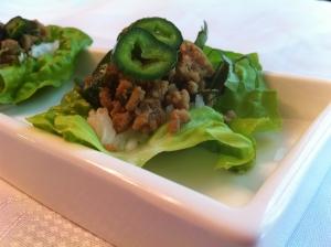 Thai Basil Turkey Lettuce Cups with Jasmine Rice & Poblano Pepper Garnish.