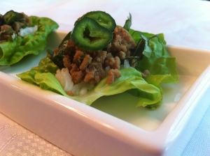 Thai Basil Turkey Lettuce Cups with Jasmine Rice & Poblano Pepper Garnish.