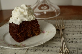 Irish Date Cake with Whipping Cream Close UP